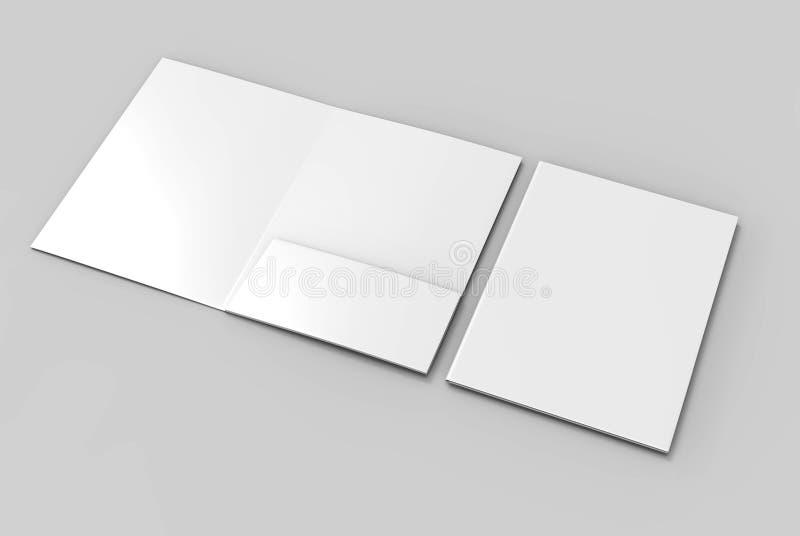 Blank white reinforced A4 single pocket folder catalog on grey background for mock up. 3D rendering. vector illustration