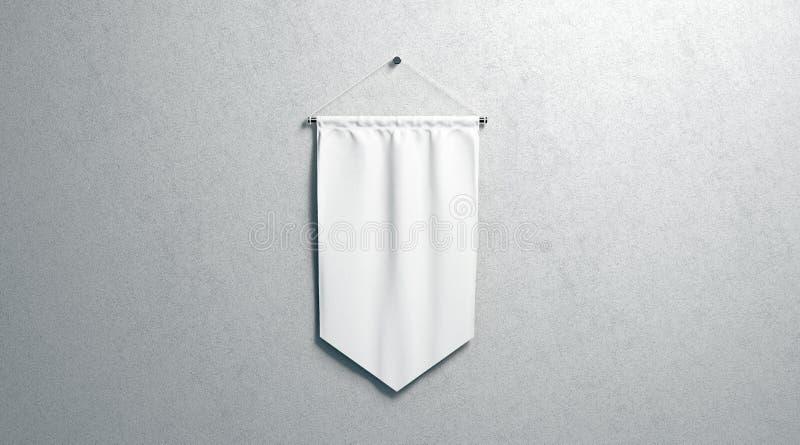 Blank white rhombus pennant mockup, wall mounted royalty free stock image