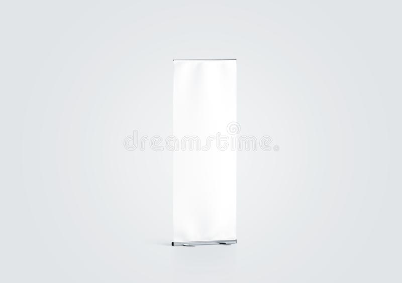 Blank white roll-up banner display mockup, side view, stock photography