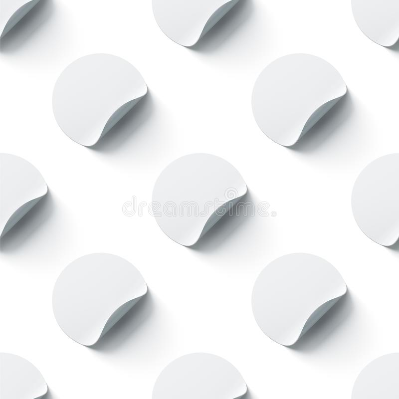 Blank white round adhesive stickers mock up with bent corners stock illustration