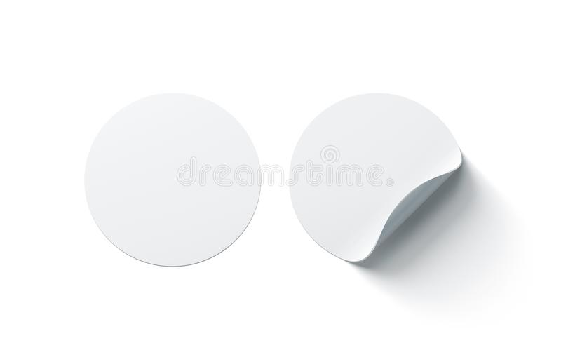 Blank white round adhesive stickers mock up with curved corner stock illustration