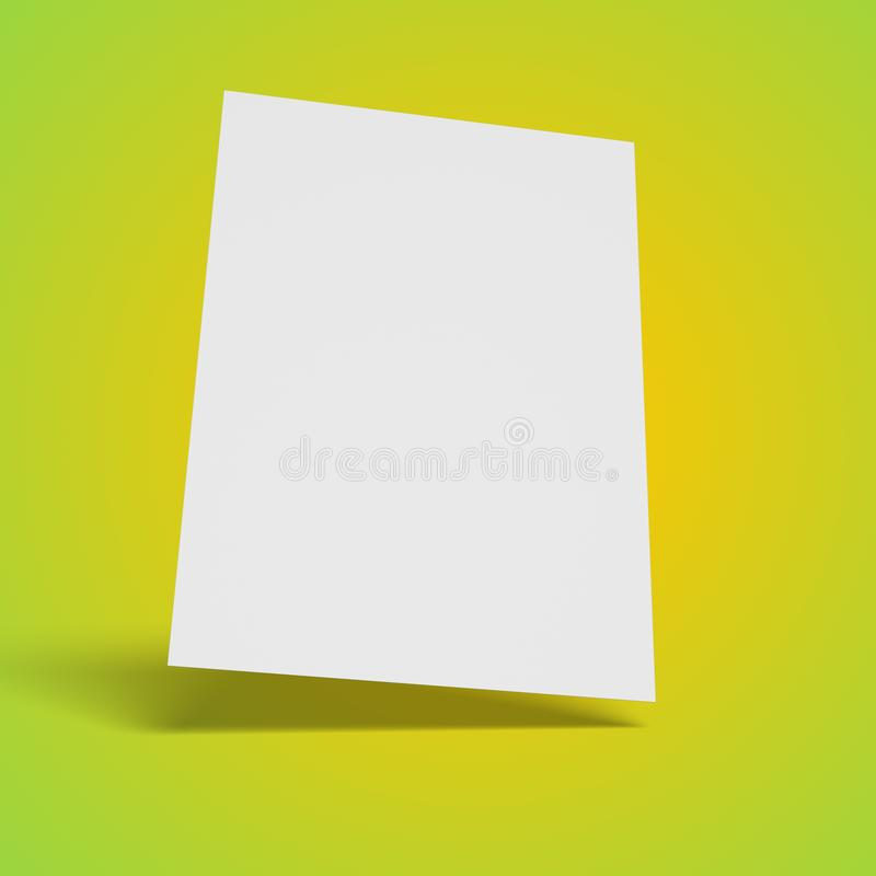 Blank white sheet of paper floating, isolated. Blank white sheet of paper floating over green to yellow gradient surface and background isolated stock illustration