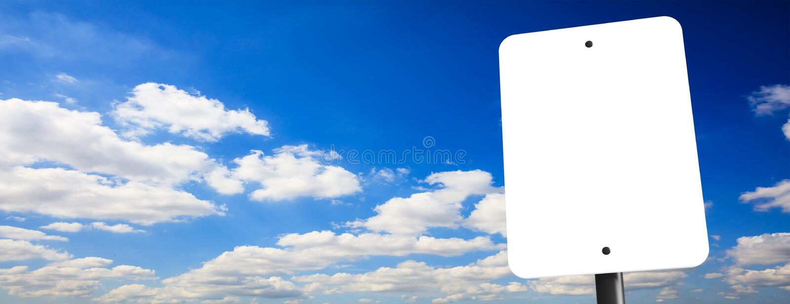 Blank white sign, billboard, on blue cloudy sky background, space for text, banner. 3d illustration stock illustration