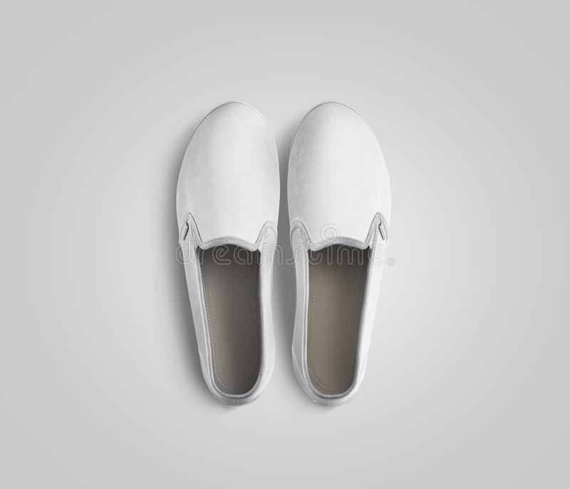 Blank White Slip-on Shoes Pair Design Mockup, Top View, Stock ...