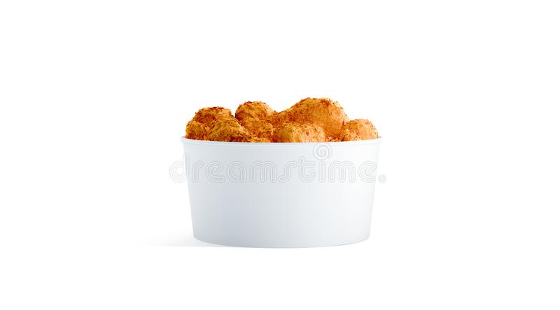 Blank white small food bucket with chicken wings mockup isolated royalty free stock images