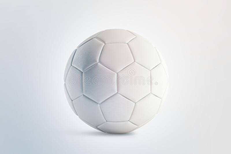 Blank white soccer ball mock up, front view, vector illustration