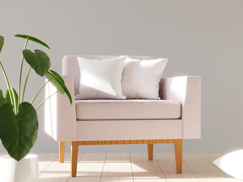 Blank white soft square pillow on a modern armchair. 3D render. Blank white soft square pillow on a modern armchair. Mockup for your design. 3D render vector illustration