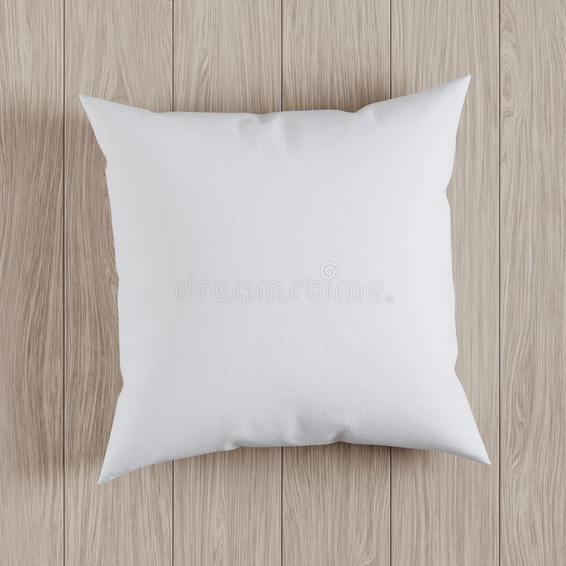 Blank white soft square pillow on a wooden floor, 3D render. Blank white soft square pillow on a wooden floor, mockup for your design, 3D render stock illustration