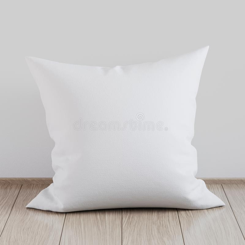 Blank white soft square pillow on a wooden floor near the wall, 3D render. Blank white soft square pillow on a wooden floor near the wall, mockup for your design vector illustration