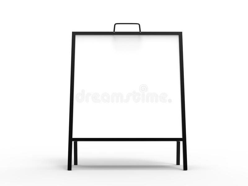 Blank white square A frame metallic outdoor advertising stand mockup set, isolated, 3d rendering. Clear street signage board mock. Up. A-board with metal frame stock illustration