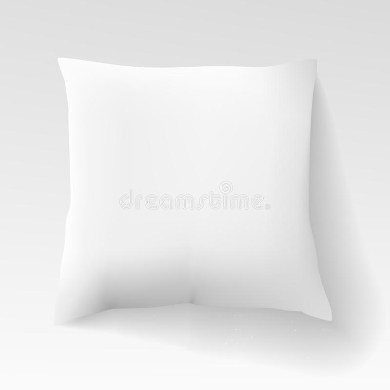Blank white square pillow with shadow. Cushion vector illustration isolated on light background. Sleep, relaxation, comfort concept. Realistic blank template stock illustration