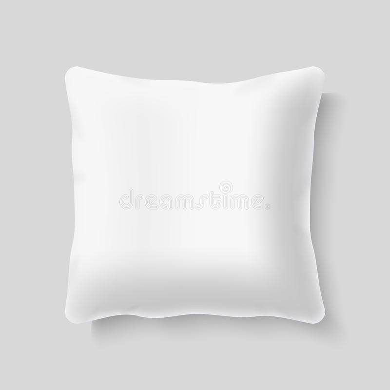 Blank white square realistic pillow cushion vector template. Blank white square realistic pillow cushion vector. Template of pillow for bed, illustration of vector illustration