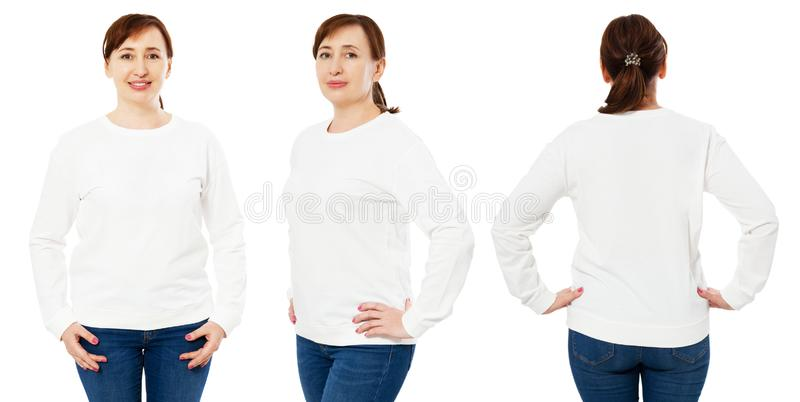 Blank white sweatshirt mock up set isolated, front, back and side view. Middle-aged woman wear white pullover mockup. Plain hoody stock photos