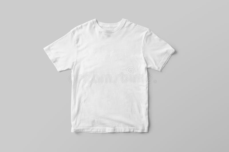 Blank White T-Shirt Mock-up on grey background, front side view. Ready to replace your design royalty free stock photo