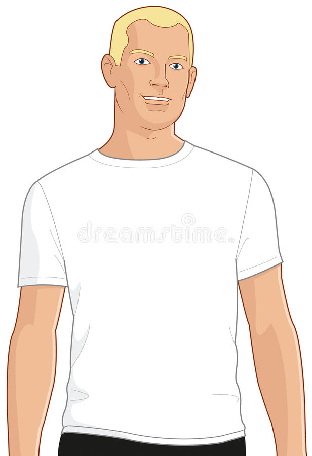 Download Blank White T-shirt Model Man 1 Stock Illustration - Illustration: 14571385