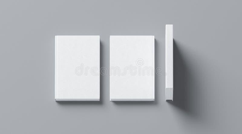 Blank white tissular hard cover book mock up, front, spine vector illustration