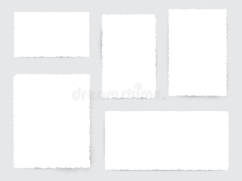 Blank white torn paper pieces royalty free illustration