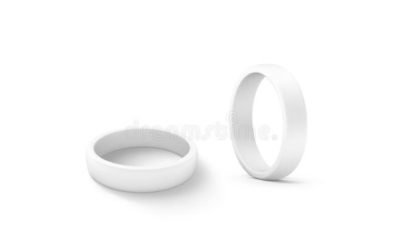 Blank white torus shape mockup set, 3d rendering. Clear circular ring design mock up royalty free stock photography