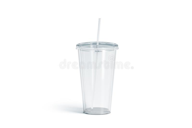 Blank white transparent acrylic tumbler with straw mockup, isolated royalty free stock images