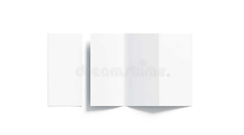 Blank white tri folded booklet mockup, opened and closed,. Top view, 3d rendering. Plain trifold brochures mock ups set . Book cover and three flier inside stock photos