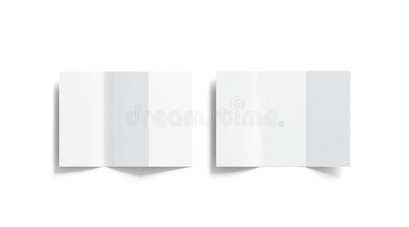 Blank white tri folded booklets mockups set, opened top view stock illustration