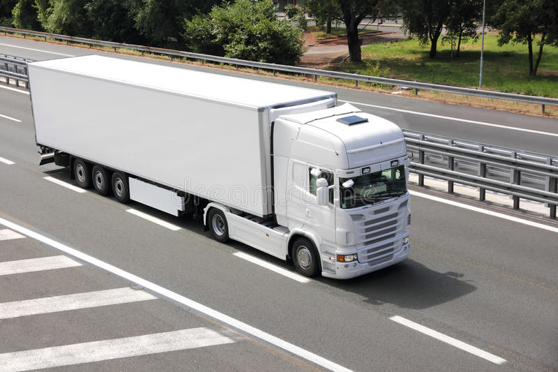 Blank white truck stock image