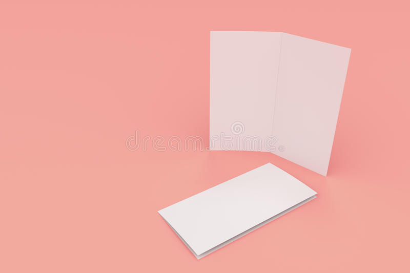 Blank White Two Fold Brochure Mockup On Red Background Stock