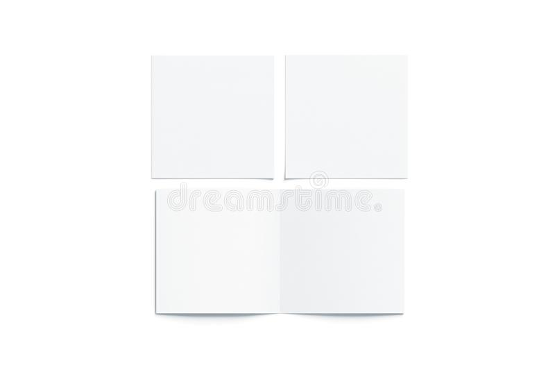 Blank white two folded square booklet mock up, opened closed. Blank white two folded square booklet mock up, opened and closed, front and back side, top view, 3d royalty free stock photo