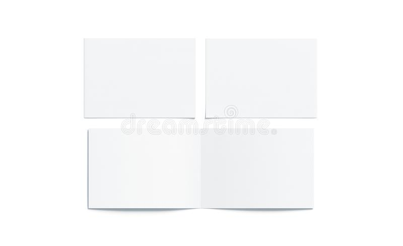 Blank white two folded wide booklet mock up royalty free illustration