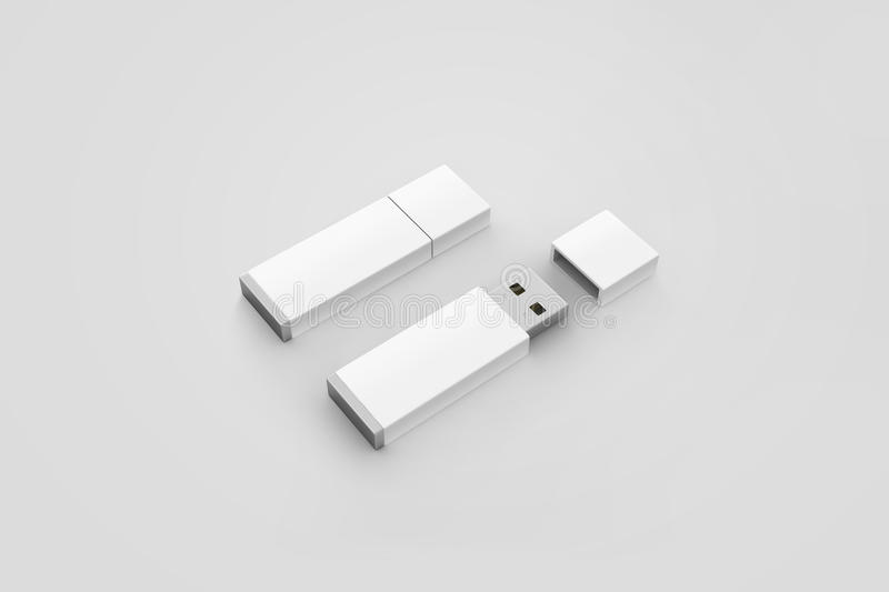 Blank white usb drive design mockup, 3d rendering, opened closed royalty free stock image