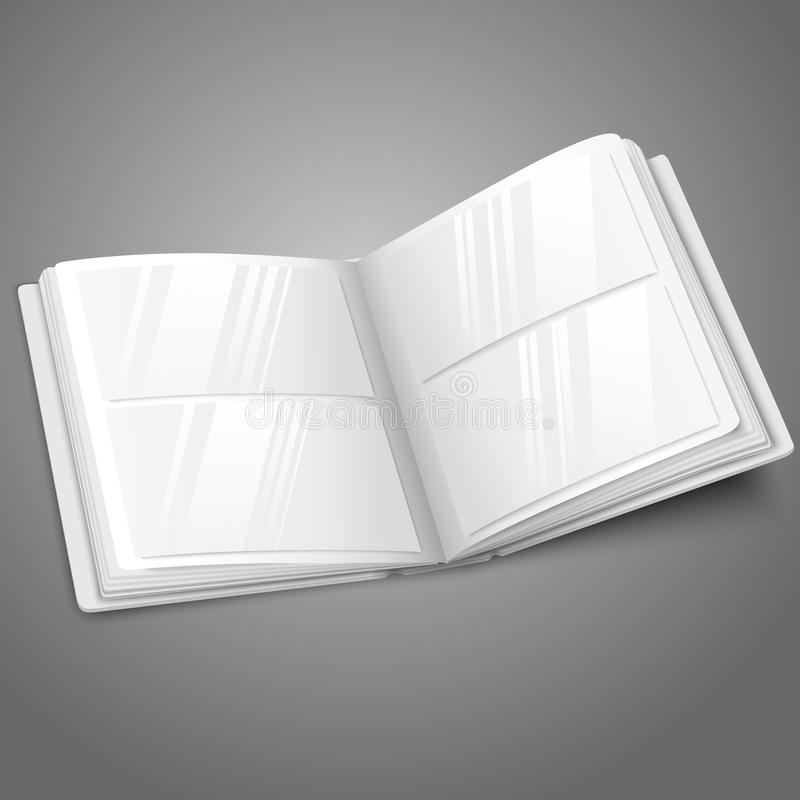 Blank white vector opened photo album for your vector illustration