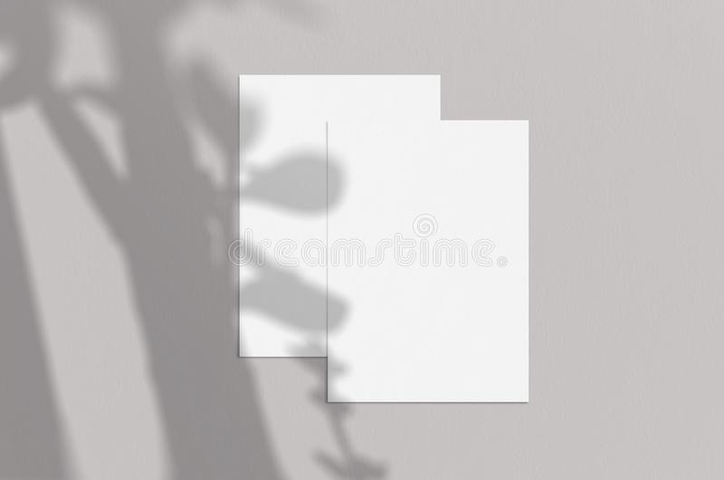 Blank white vertical paper sheet 5x7 inches with shadow overlay. Modern and stylish greeting card or wedding invitation mock up. Blank white vertical paper sheet stock image