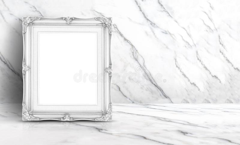 Blank white vintage frame at white clean marble wall and floor b royalty free stock images