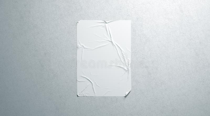 Blank white wheatpaste adhesive poster mockup on textured wall stock images