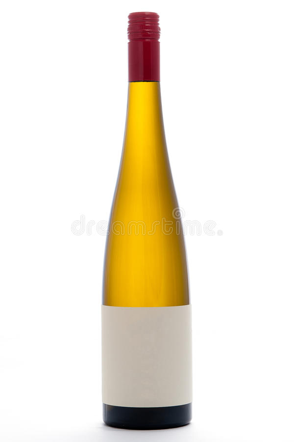 Blank White Wine Bottle. With Red Cap stock photo