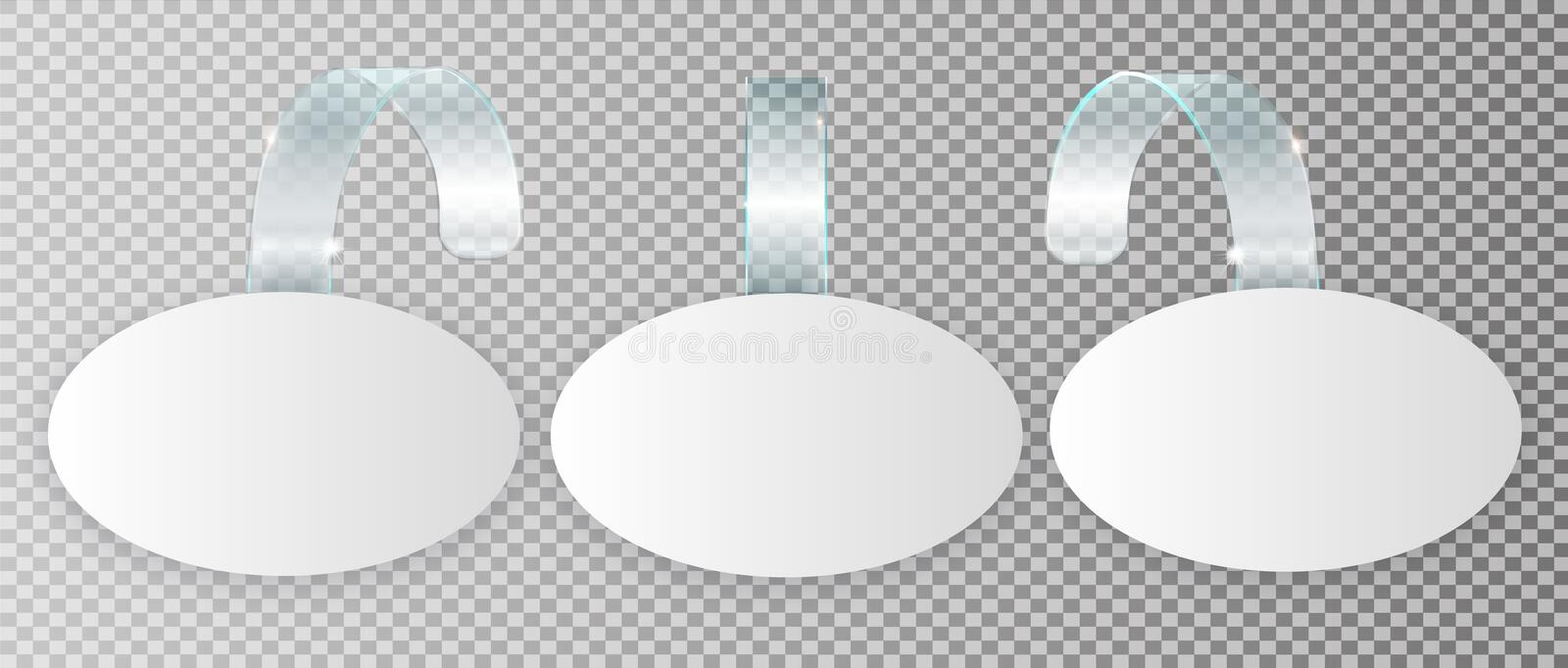 Blank white wobbler hang on wall mock up, 3d rendering. Space round paper mockup on plastic transparent strip. Clear vector illustration