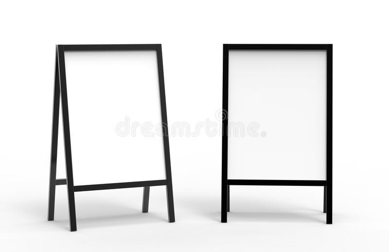 Blank white wooden outdoor advertising stand mockup set, , 3d rendering. Clear street signage board mock up. A-board royalty free illustration