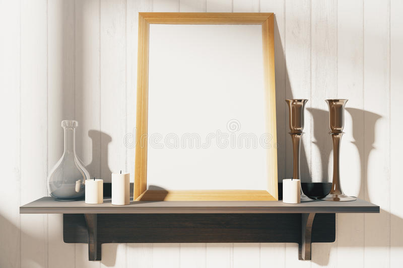 Blank white wooden picture frame on the wooden shelf at wooden w royalty free illustration