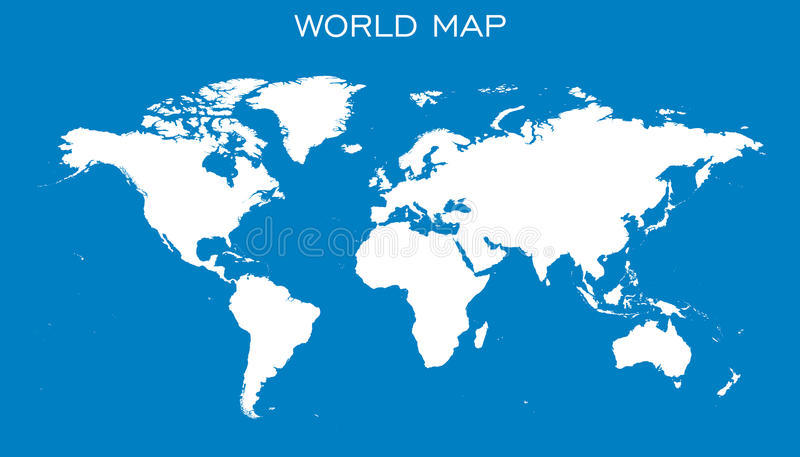 download blank white world map on blue background stock vector illustration of cartography
