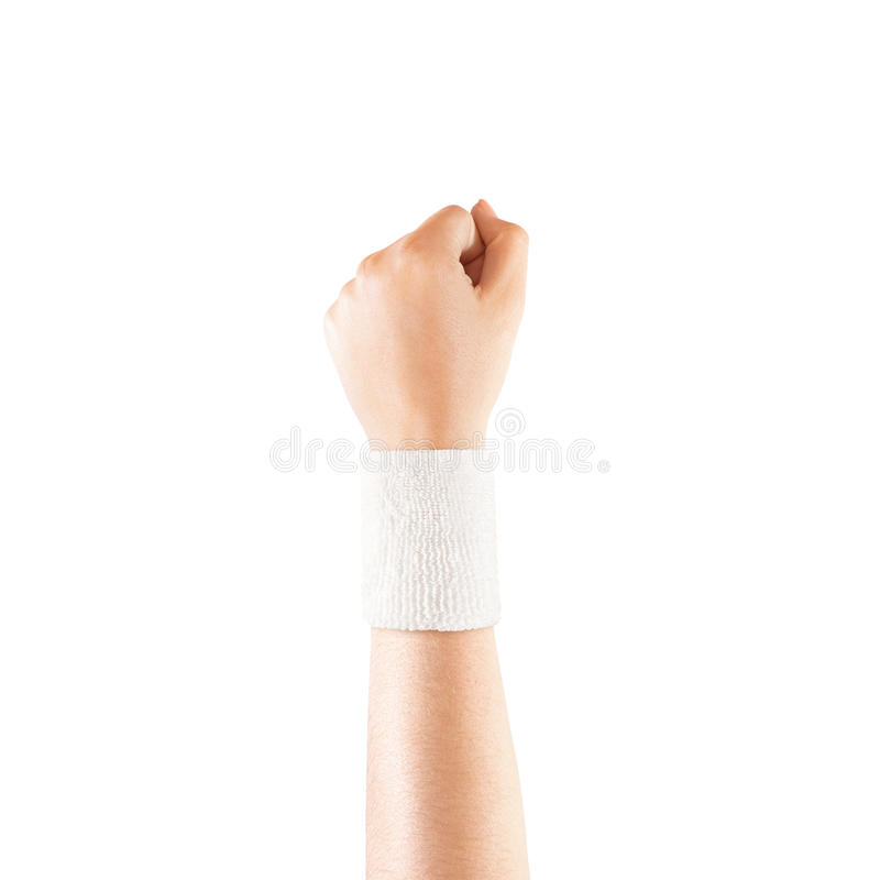 Blank white wristband mockup on hand, isolated stock images