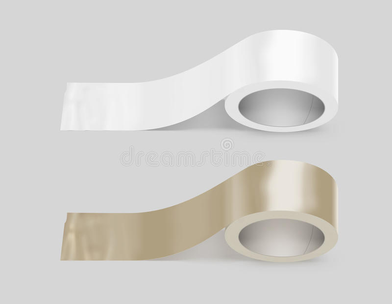 Blank white and yellow duct adhesive tape mockup, clipping path. 3d illustration. Sticky scotch roll design mock up. Clear glue tape template. Packing royalty free stock photos
