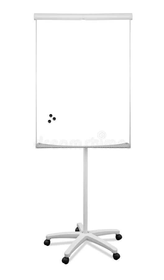 Blank whiteboard stand. On wheels with magnets royalty free stock photography