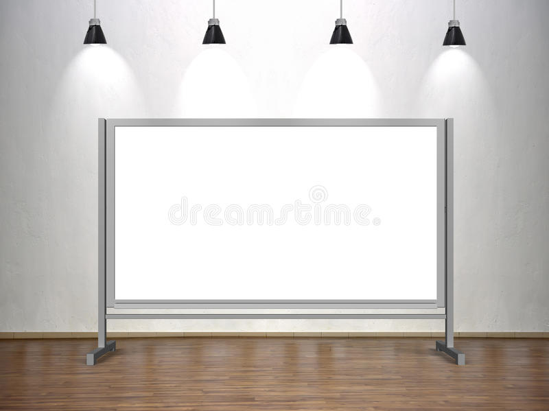 Blank whiteboard. Standing in classroom with four lamp stock illustration