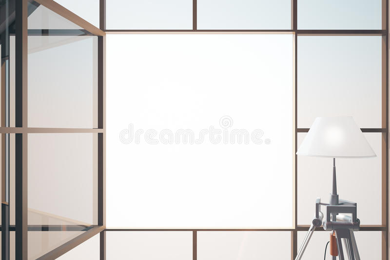 Blank window closeup. Closeup of open framed window and lamp. Mock up, 3D Rendering vector illustration