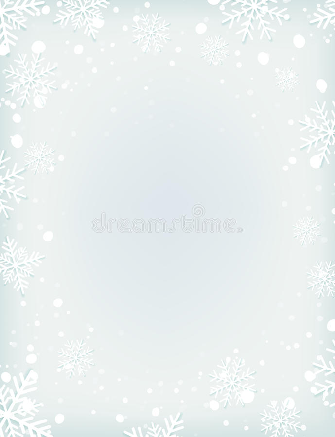 Blank Winter Background With Snow And Snowflakes Stock Vector