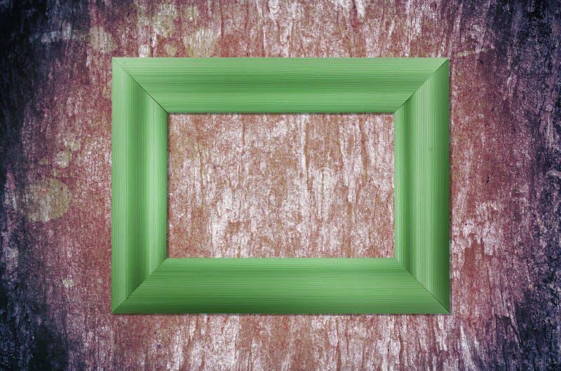 Blank Wood Frame On Grunge Brick Wall Stock Photo