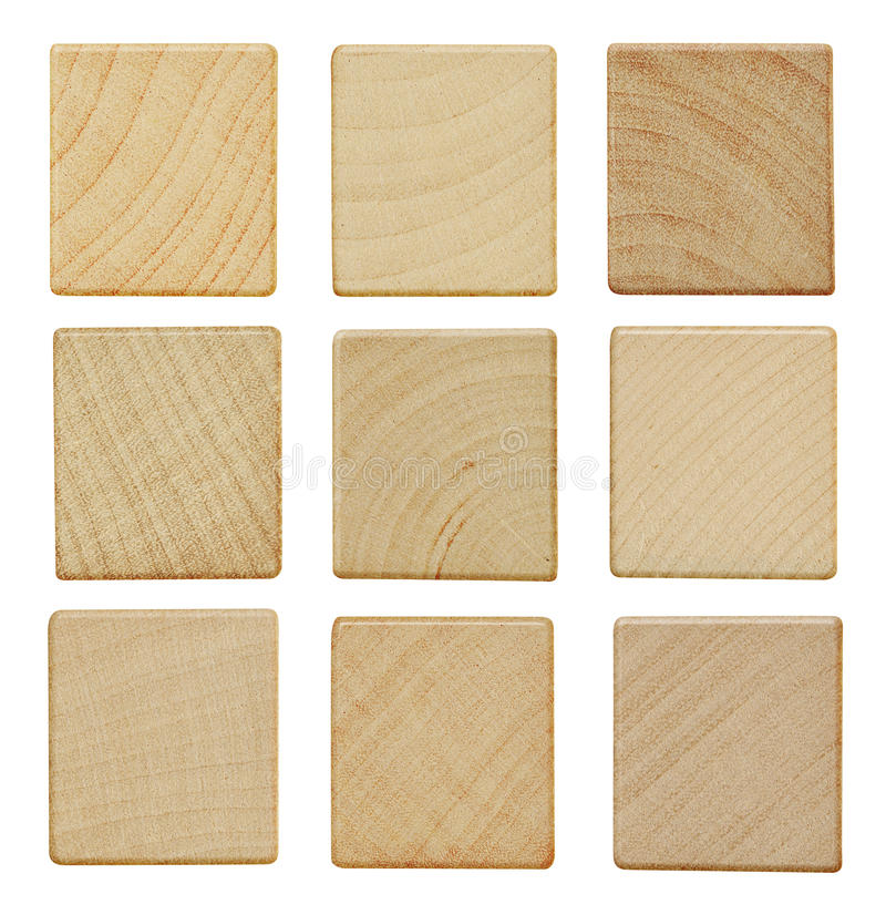 Blank wood pieces stock images
