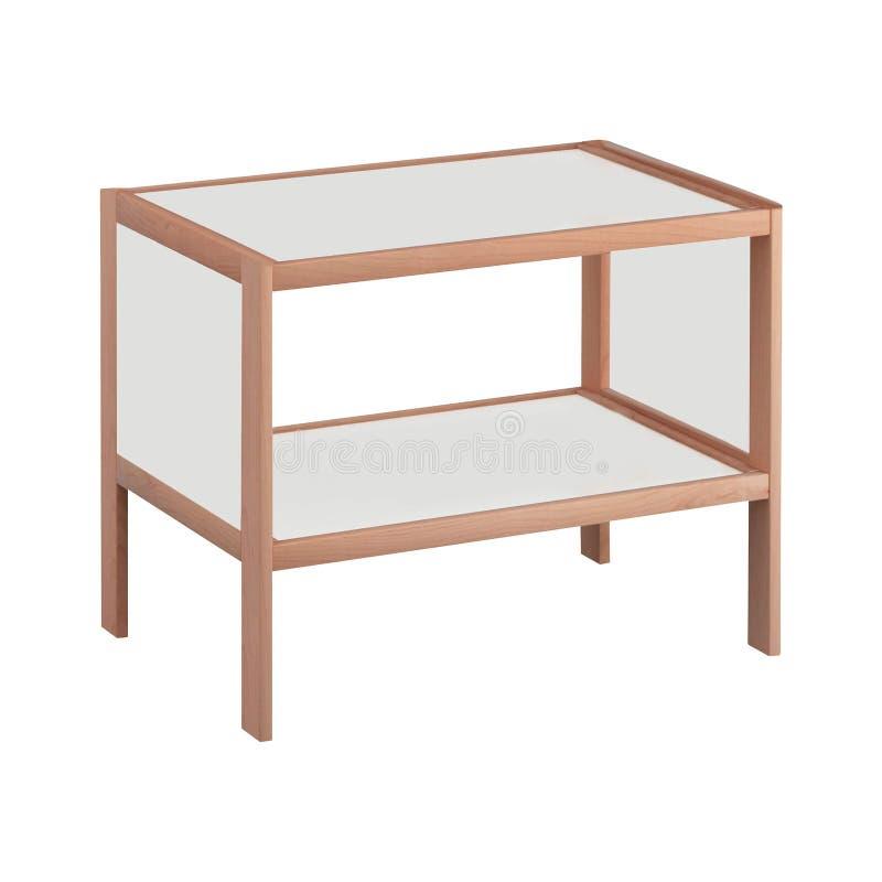 Blank wooden bookshelf. On white background royalty free stock photo