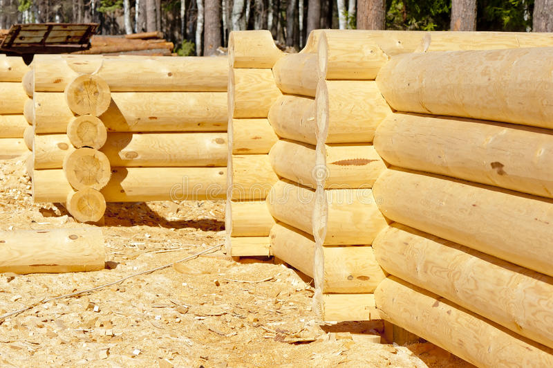 The blank wooden frame made of round timber. With the bottom groove royalty free stock photography