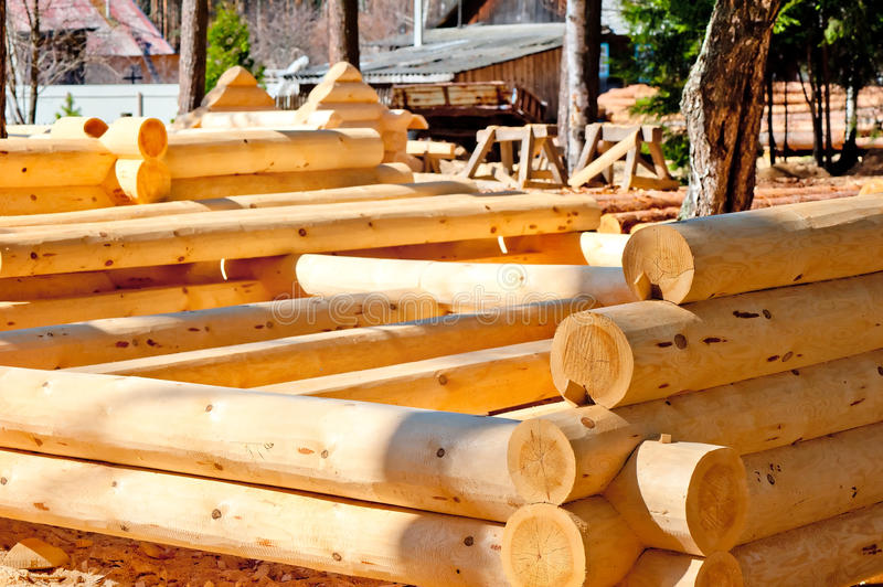 The blank wooden frame made of round timber. With the bottom groove stock images